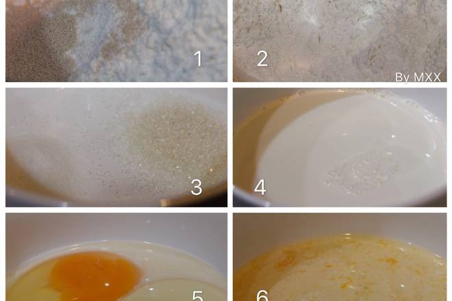 Home Cooking Recipe: 1. Mix the flour and 5g yeast powder in the first step of the chef machine; mix the salt, sugar and milk, then add the egg liquid and vegetable oil, mix and mix well, pour into the noodle and noodle, use 1 file. ;