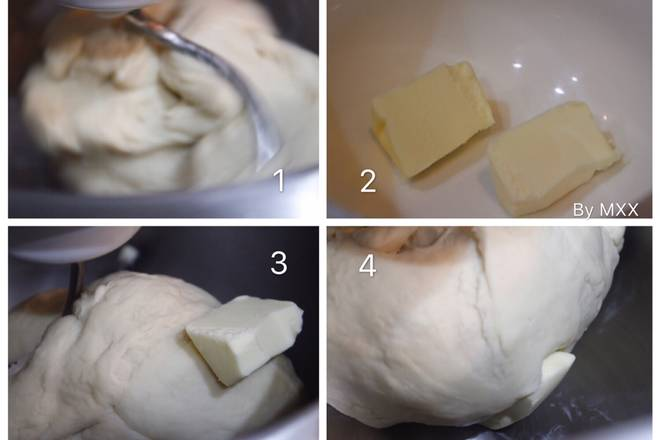 Home Cooking Recipe: 2, with 1 file and into a smooth and smooth dough, baked dough is not so paying attention to no film; add 10 butter or 5 grams of vegetable oil after the oil method, about 5 minutes, and even; 10 butter or 5 grams of vegetable oil, and then 5 minutes and even;