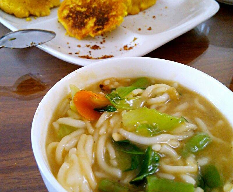 Home Cooking Recipe: a bowl of hot noodle soup in winter