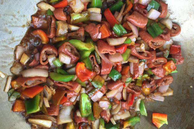 Home Cooking Recipe: Add all the spices and stir fry