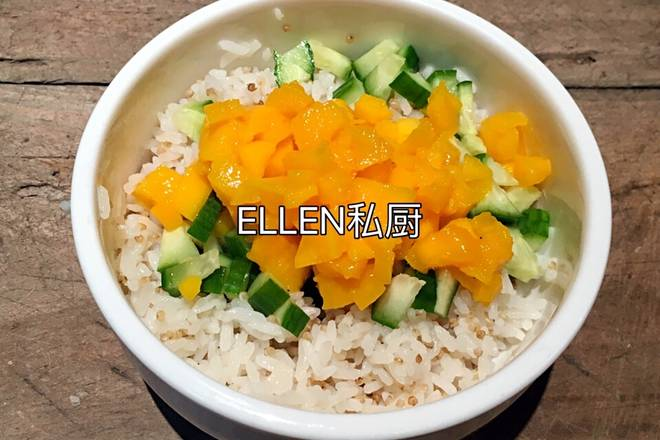 Home Cooking Recipe: Add mango diced and cucumber diced to buckwheat rice and mix well