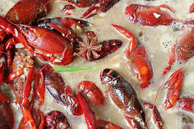 Home Cooking Recipe: Add scallion and star anise, pour a small amount of boiling water with the lobster, if the beer is poured more, do not add boiling water, cover the medium fire for 10-15 minutes.