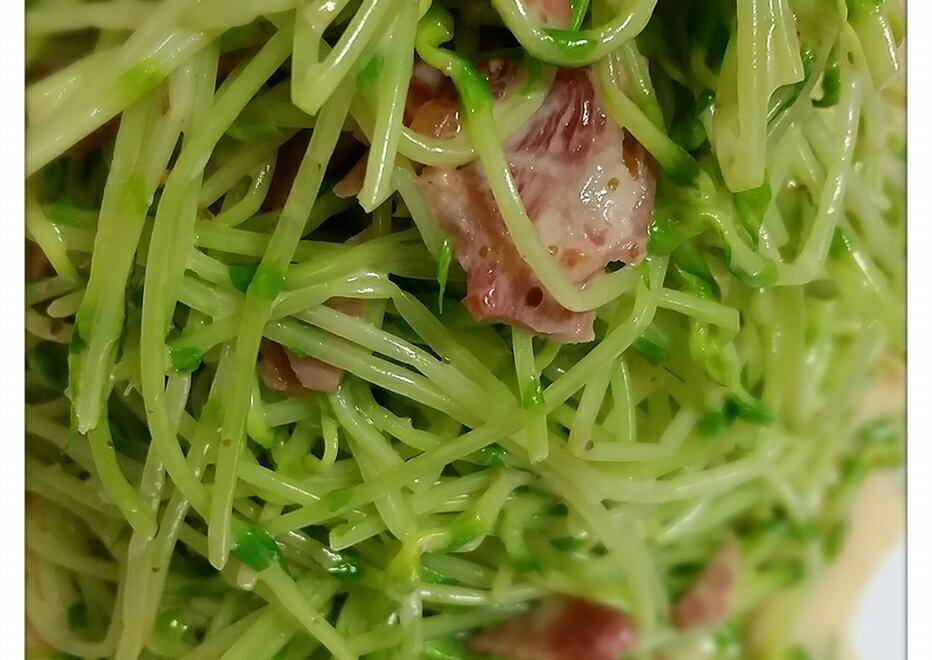 Home Cooking Recipe: Bacon pea sprouts