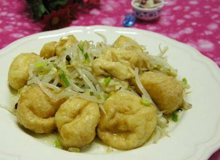 Home Cooking Recipe: Bean sprouts fried oil tofu