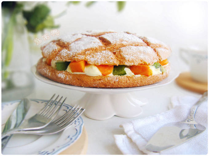 Home Cooking Recipe: [Bissji & Fruit Cream Stuffing] Light and oil-free egg sponge cake