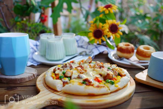 Home Cooking Recipe: Breakfast: Chicken and Vegetable Pizza + Milk + Coconut Bread + Matcha Pudding