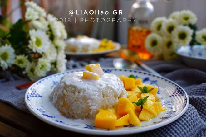Home Cooking Recipe: Breakfast: Coconut Mango Rice + Fruit Flower Tea
