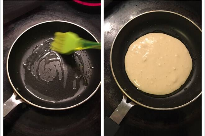 Home Cooking Recipe: Brush a layer of oil in a small pan and pour the batter