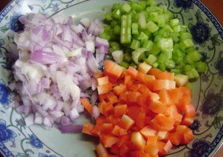 Home Cooking Recipe: Celery, carrots and onions are cut into small pieces