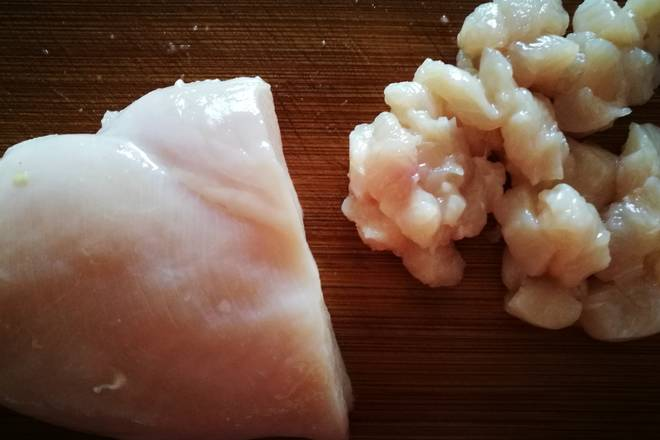 Home Cooking Recipe: Chicken breast cut into diced