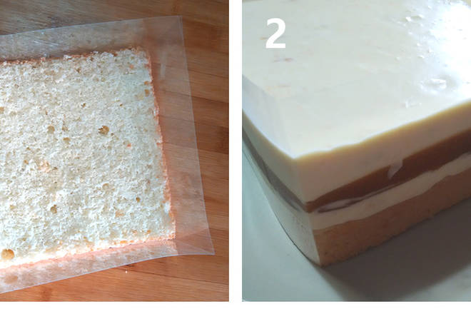 Home Cooking Recipe: [Combination] 1. Cut the cake blank into 1.5 cm thick cake pieces, surround the mousse or directly in the mold; 2. Place the cake pieces around the square in the square mold (the mold can help fix, Avoid running out of jelly liquid). First apply a layer of C fruit cream, about 5mm, then freeze to fully solidify. Pour the B. apricot jelly, freeze to surface coagulation, pour all the remaining C fruit cream, smear with a spatula, freeze to solidify or freeze for three hours to solidify. Release the mold, carefully uncover the mousse, cut the cake into three portions on average, pour a little jam on top, and garnish with chocolate.