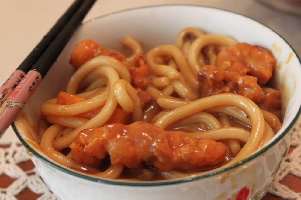 Home Cooking Recipe: Curry chicken udon noodles