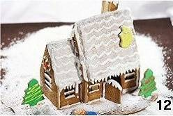 Home Cooking Recipe: Finally, tune some of the thinner icings and brush them on the roof with a whipped cream. Then decorate the house according to your own preferences, and sprinkle some powdered sugar on the whole house, and the dream house will be completed. (The Christmas tree and the small mushroom next to the house are gingerbread made with the same dough. Please click here for details.)
