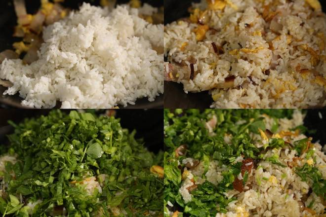 Home Cooking Recipe: First add the leftover rice, stir-fry the stir-fry, stir until evenly, add the pea tip (I'm chopped) and finally put a little chicken to taste. You can also add a little salt, according to your family's bacon and salty yourself ~