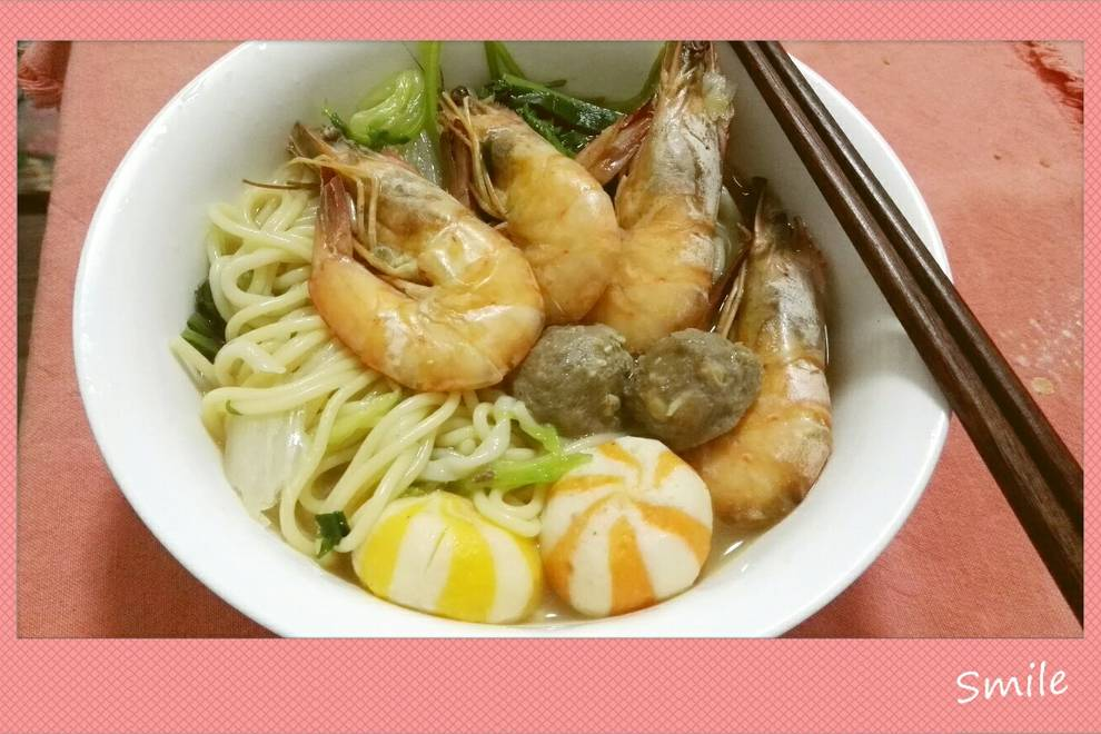 Home Cooking Recipe: Fresh shrimp and ball soup noodles