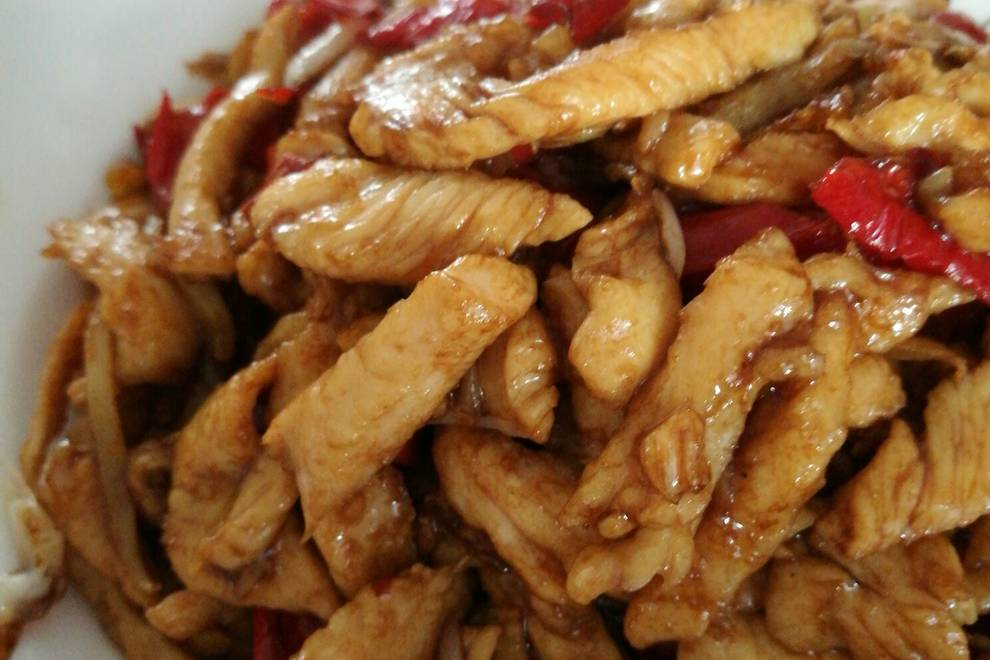 Home Cooking Recipe: Fried chicken breast with red pepper