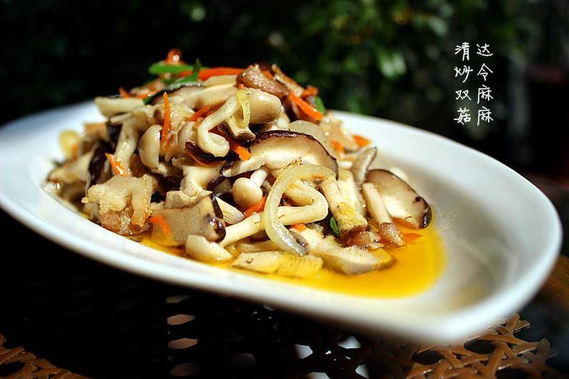 Home Cooking Recipe: Fried double mushroom