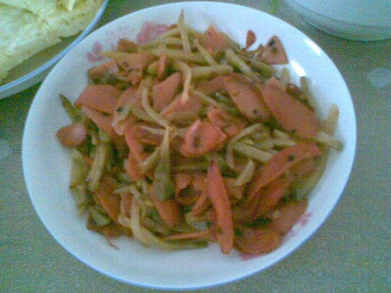 Home Cooking Recipe: Fried ham with fried vegetables