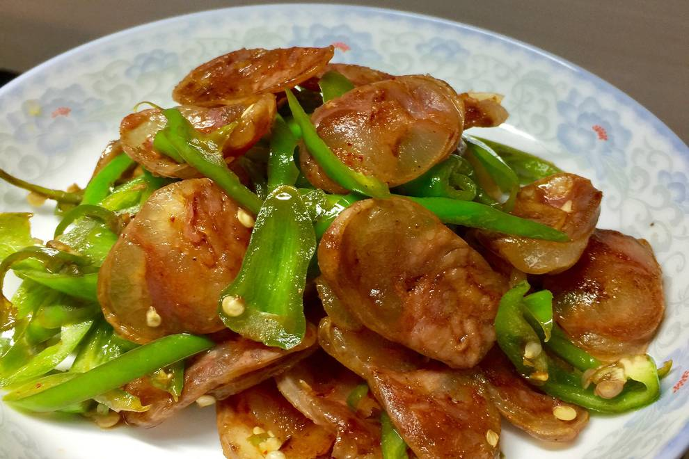 Home Cooking Recipe: Fried pepper with green pepper