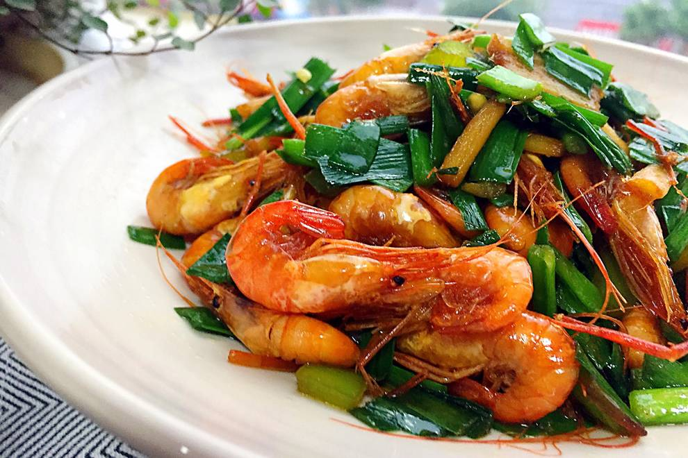 Home Cooking Recipe: Fried prawn with chives