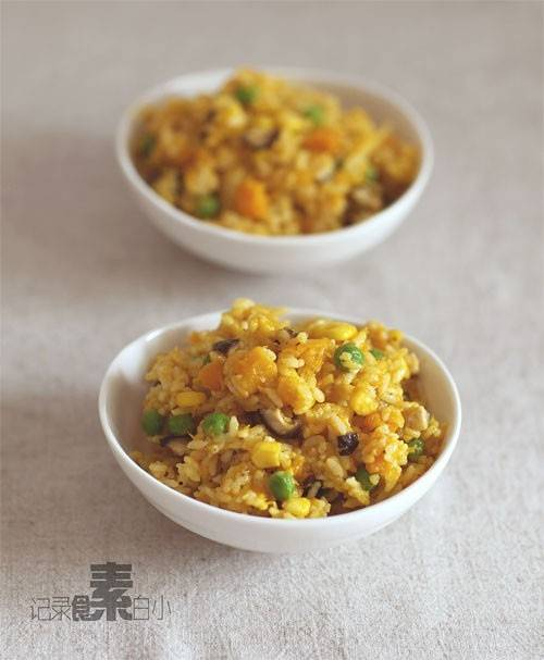 Home Cooking Recipe: Fried rice with pumpkin sauce