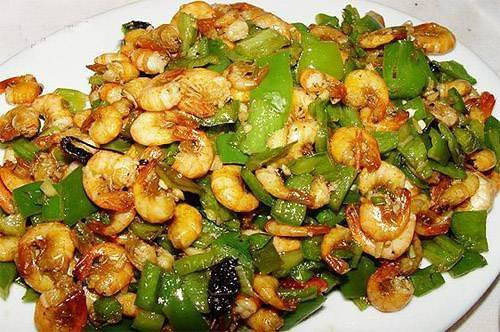 Home Cooking Recipe: Fried shrimp with green pepper
