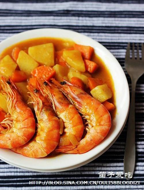 Home Cooking Recipe: Gold curry shrimp