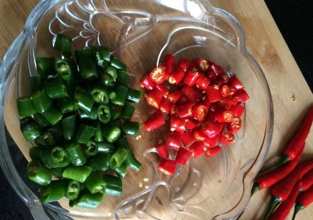 Home Cooking Recipe: Green red pepper washed and cut into small pieces