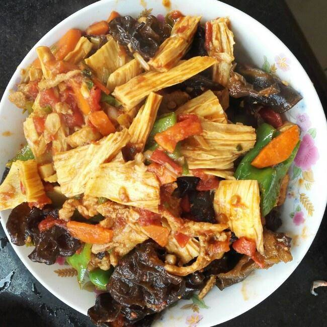 Home Cooking Recipe: Meat fried yuba fungus