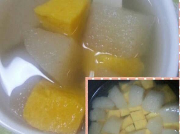 Home Cooking Recipe: Peel the pears and sweet potatoes, cut into the rice cooker, add the rock sugar and water, and adjust to the soup file, but don't wait for the procedure to finish, oh, open the lid and observe the pear transparent, the sweet potato can be soft.