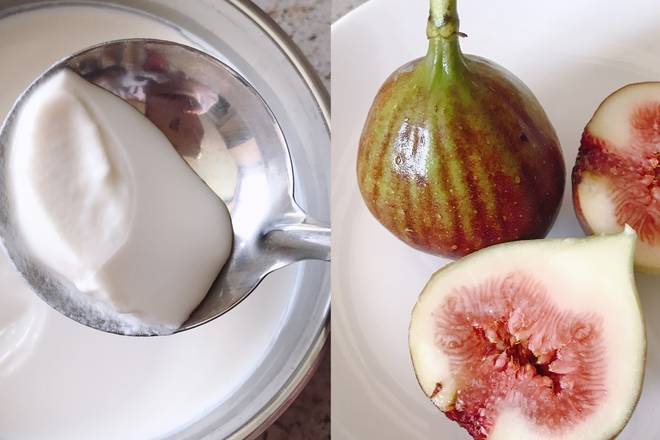 Home Cooking Recipe: Prepare the figs and yogurt. The yogurt I use is made by myself. It is thicker without sugar, so it will add some honey.