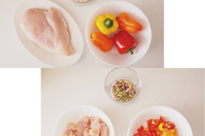 Home Cooking Recipe: Prepare the ingredients - chicken breast meat washed, cut about 1cm scorpion block / color pepper diced / pistachio husk