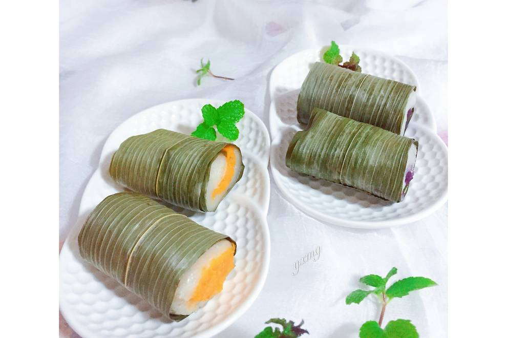 Home Cooking Recipe: Purple potato, sweet potato glutinous rice roll