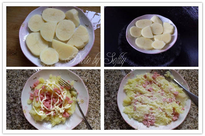 Home Cooking Recipe: Slice the potatoes and steam for about 15-20 minutes until they are fully cooked. Remove the potatoes, add the appropriate amount of salad dressing, and add the chopped ham. Roll the potatoes into a puree and mix well with other ingredients.