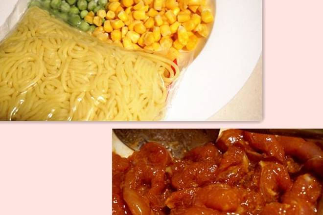 Home Cooking Recipe: Sliced ​​lean meat, marinated with raw flour and soy sauce, corn green bean noodles are ready, my noodles are supermarkets to buy instant noodles, which is relatively simple.