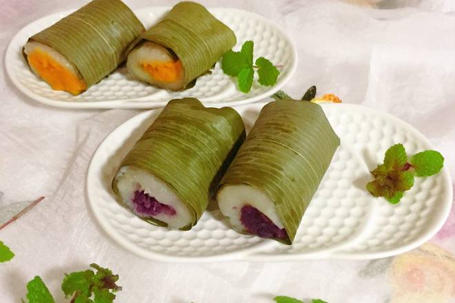 Home Cooking Recipe: Sweet and soft purple potato, sweet potato glutinous rice roll out of the pot! You can try your friends who like to eat glutinous rice!