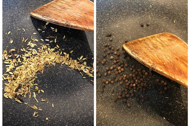 Home Cooking Recipe: The fennel, cloves and black pepper granules are placed in a pan and fried to smell the scent.