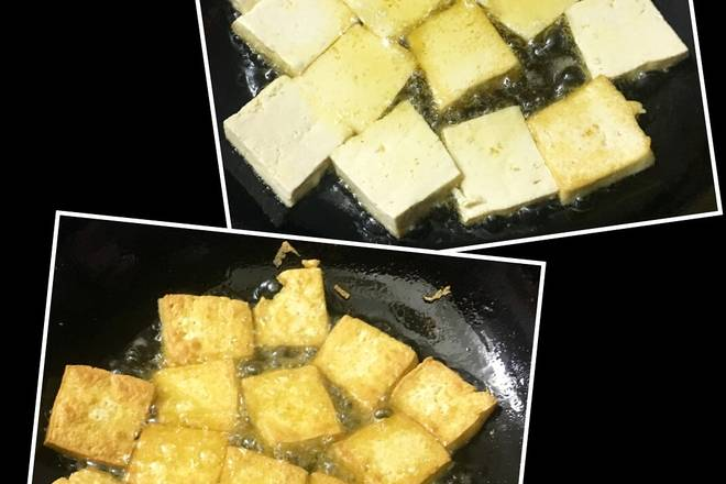 Home Cooking Recipe: The hot oil is covered with tofu, and the medium and small fires are slowly fried to golden on both sides to control the oil and drain;