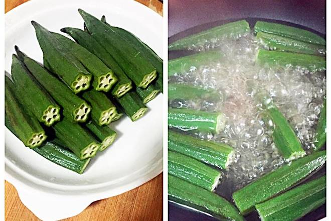 Home Cooking Recipe: Wash the okra and wash it, simmer a pot of water into a few drops of vegetable oil, put a small spoonful of salt, and bring the okra into the pot for a minute or two to remove the plate.